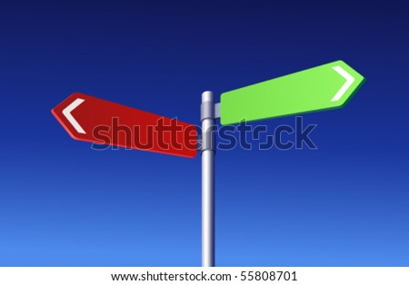 Two colored signs - Choosing concept