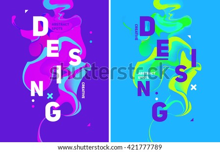 Two colorful abstract poster. Liquid ink. Modern style trends. Background for banner, card, poster, identity,web design.
