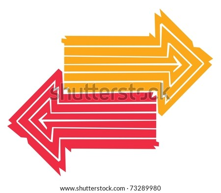 Two colorful Arrows made out of Lines pointing into opposite ...