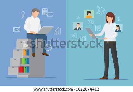 Two colorful business cards vector illustration isolated on blue backdrops, business people with grey laptops, bulb message cloud graphic set of icons