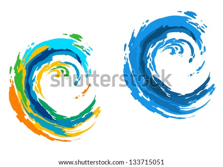 two colorful waves for serfing