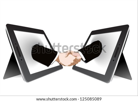 Two computer tablet and Hands in handshaking, Internetworking Concept, Wireless Communication