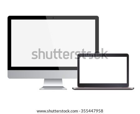 two computers with white screen