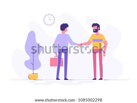 Two confident young men are shaking hands together in an office. Business consept. Modern flat illustration.