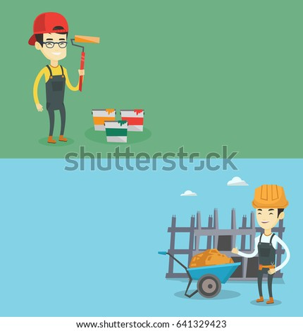 Two construction banners with space for text. Vector flat design. Horizontal layout. Builder giving thumb up. builder with thumb up standing near wheelbarrow. Builder at work on construction site.