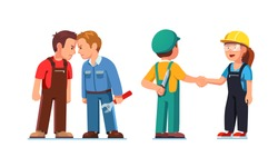 Two construction worker mans standing clashing colliding heads in fight. Interpersonal relationship conflicts. Lies and deceit of dishonest employee person. Flat vector character illustration set