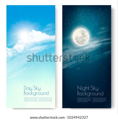 two contrasting sky banners