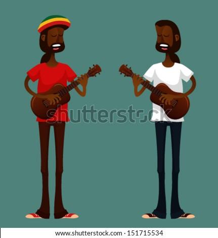 two cool cartoon guys playing