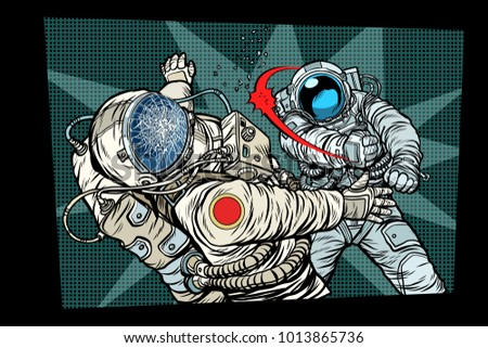 two cosmonauts fight the space