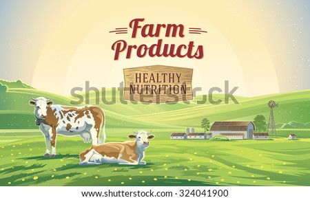 two cows in a landscape and a