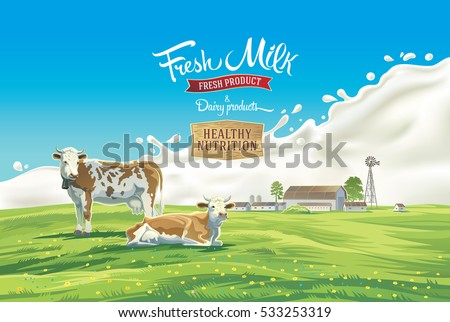 two cows in the background of
