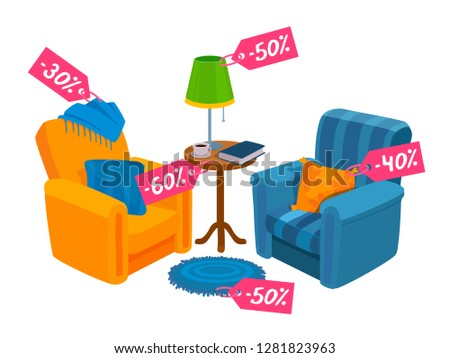 Two cozy chairs. Home colorful furniture. Promotional ad poster about the sale. Sales tags are on the furniture. Vector flat design cartoon illustration without people isolated on white background.