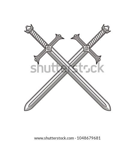Two crossed ancient swords. Line art vector illustration.
