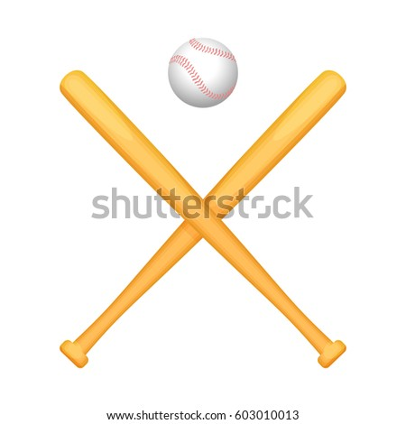 Two crossed baseball bats with small special white ball above. Vector illustration of special equipment consisting of wooden sticks and playing circle for game. Objects for active lifestyle.
