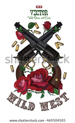 Two crossed cowboy gun, rose covered design, isolated on white, vector illustration, eps-10