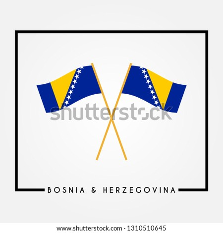 two crossed flag of bosnia and