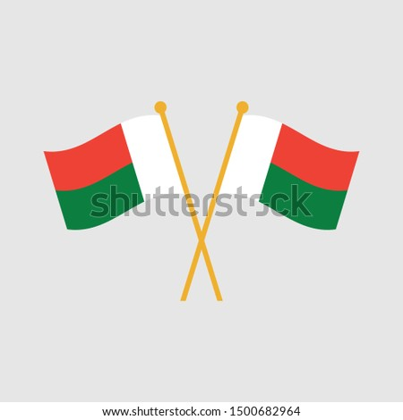 Two crossed Flag of Madagascar, Madagascar flag template design. Vector eps 10