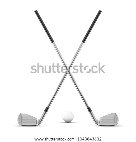 two crossed golf clubs and ball