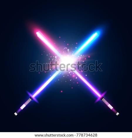 two crossed light neon swords