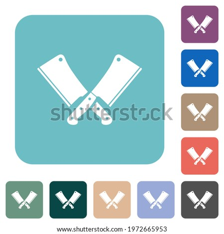 Two crossed meat cleavers white flat icons on color rounded square backgrounds Stock photo ©