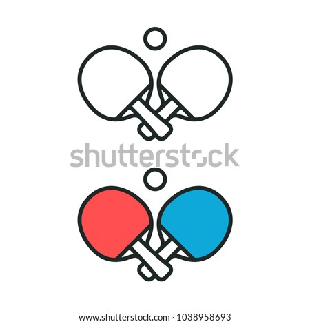 Two crossed ping pong rackets and ball emblem. Table tennis black and white line icon and color logo. Sports symbol vector illustration.