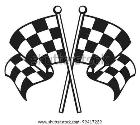 two crossed racing checkered flags