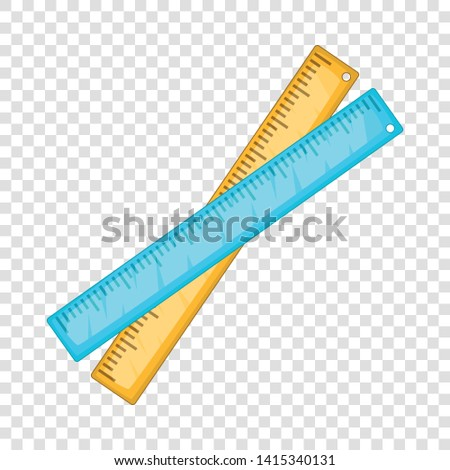 Two crossed rulers icon. Cartoon illustration of two crossed rulers vector icon for web design