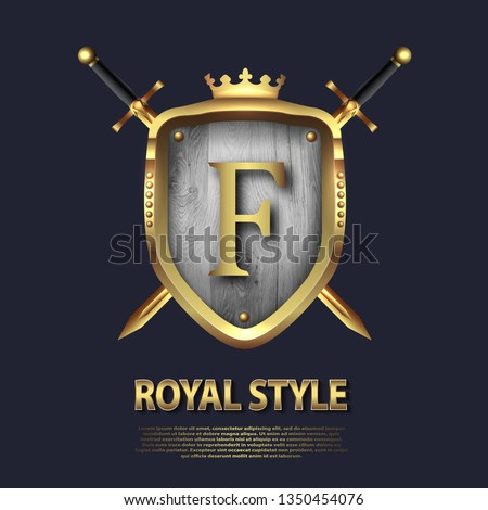 Two crossed swords and shield with crown and letter F. Letter Design in gold color for uses as heraldic symbol of power, loyalty, security, emblem, logo. Background Vector illustration