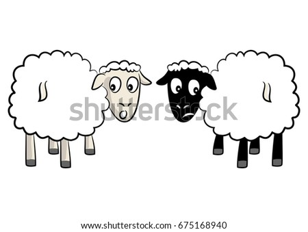 two curious sheep in cartoon