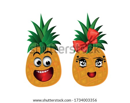 two cute and funny pineapple
