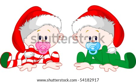 two cute babies with christmas
