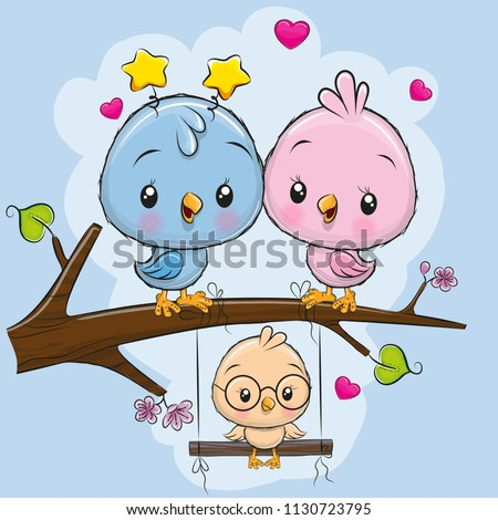 two cute birds on a branch and