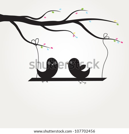 Two cute black birds sitting on the tree branch. Vector illustration for wallpapers, greeting cards or book illustration.