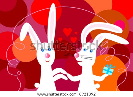 two cute bunny in love greeting