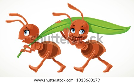two cute cartoon ant carry