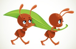 Two cute cartoon ants carry big green juicy blade of grass isolated on a white background