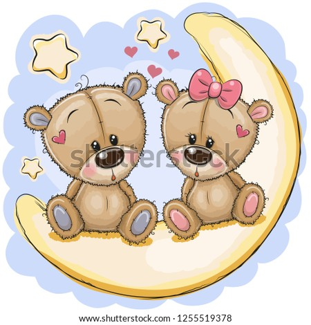 two cute cartoon bears is