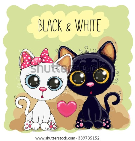 two cute cartoon cats black and