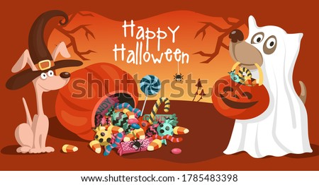 Two cute cartoon dogs in Halloween witch and ghost costumes. Trick or treat, happy Halloween. Vector illustration or postcard.