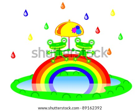 Two Cute cartoon frog sitting on a rainbow under an umbrella. There is a colorful rain. Children vector scene of bright colors.