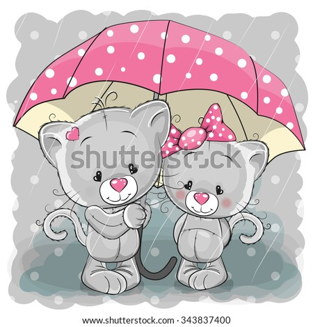 two cute cartoon kittens with