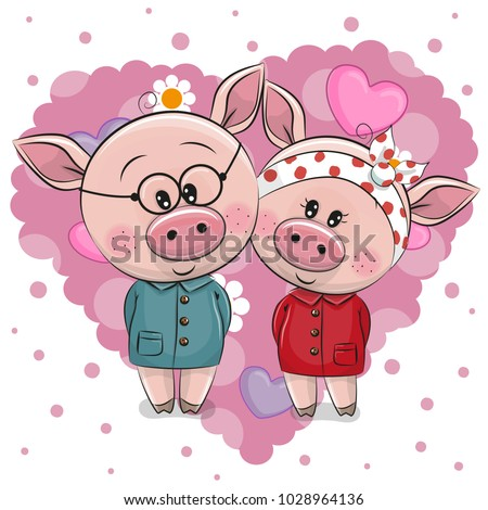 two cute cartoon pigs on a