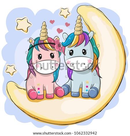 two cute cartoon unicorns are