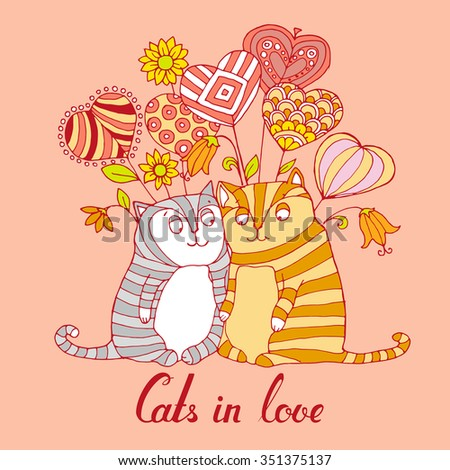 two cute cats falls in love