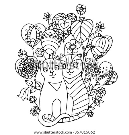 two cute cats falls in love and