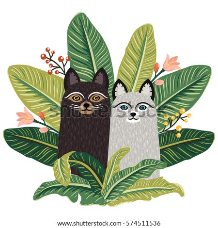 Two cute cats sitting among greenery. Summer pattern with fluffy kitten and tropical leaves. Vector cat art