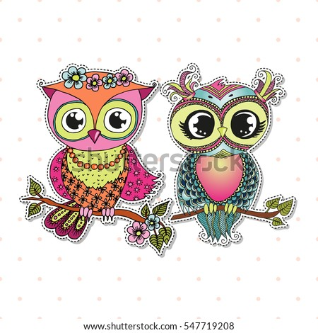 two cute colorful cartoon owls