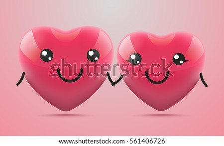 two cute 3d hearts isolated on