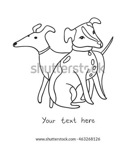 two cute dogs outline black and