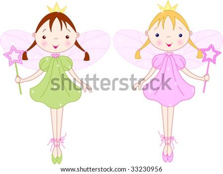 two cute fairies with magic wand